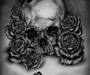 draw, rose, and skull image