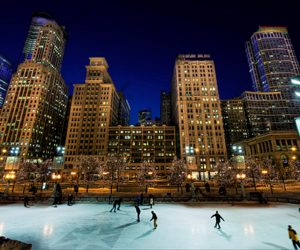 city, winter, and ice skating image