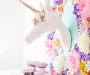 unicorn, party, and flowers image