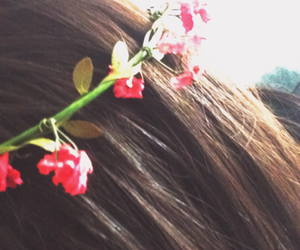 beauty, brown hair, and flower image