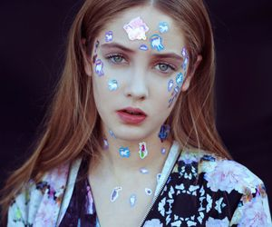 girl, model, and stickers image