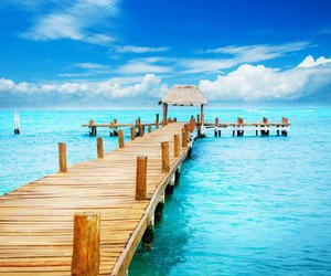 beach, blue, and mexico image