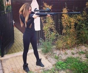 girl, gun, and black image