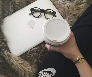 nike, coffee, and glasses image