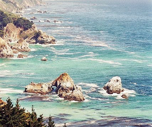 big sur, cliff, and forest image