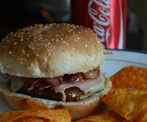 food, burger, and coca cola image