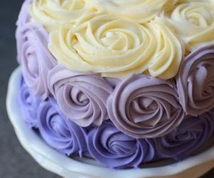 cake, rose, and purple image