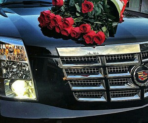 car, luxury, and flowers image