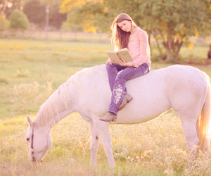 girl, horse, and gray image