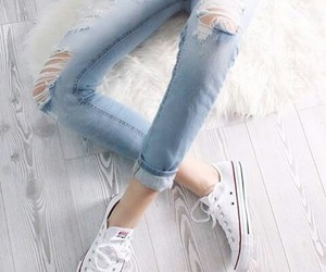 jeans, converse, and white image