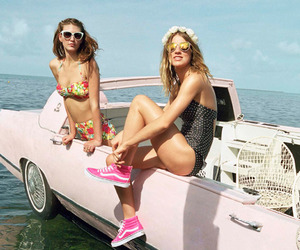 bathing suits, car, and lake image
