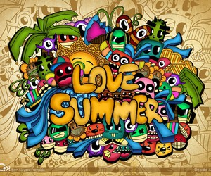 wallpaper, doodle, and love summer image