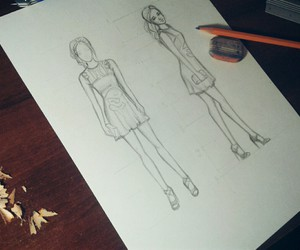 art, draw, and fashion sketch image