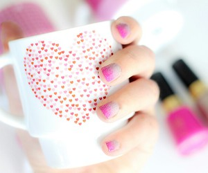 pink, nails, and heart image