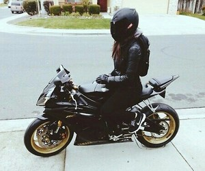 girl, black, and motorcycle image