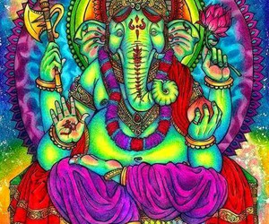 elephant, psychedelic, and art image