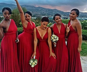 wedding, red, and bridesmaids image
