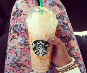 starbucks, coffee, and flowers image