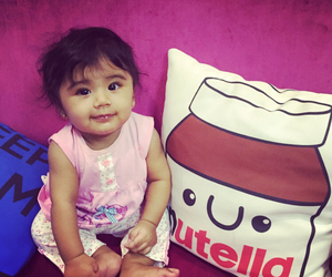 baby, nutella, and pink image