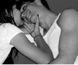 black and white, smile, and love image