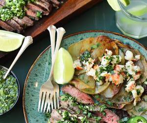 beef, meat, and chimichurri image