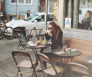 girl, cafe, and coffee image