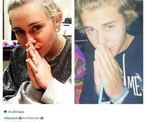 miley cyrus, justin bieber, and heart image