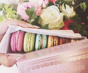 flowers, laduree, and macarons image