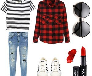 jeans, lipstick, and outfit image