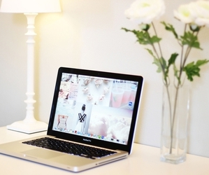 flowers, white, and laptop image