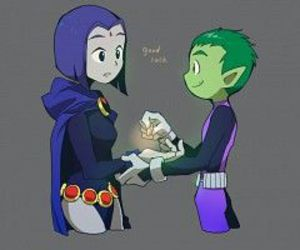 raven, beast boy, and teen titans image