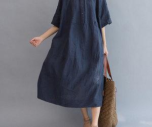 dark blue, dress, and long image