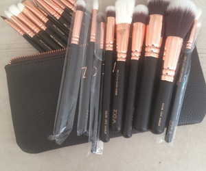 Brushes, make up, and rose gold image