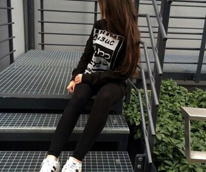 girl, black, and adidas image