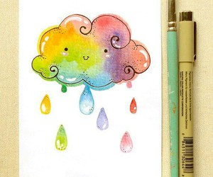 art, clouds, and rainbow image