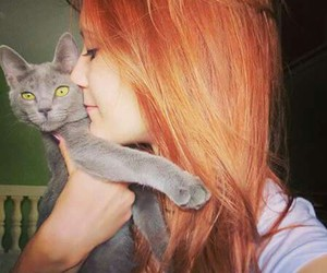 girl, cat, and redhead image