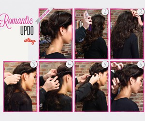 hair style, updo, and romantic image