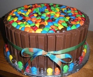 cake, chocolate, and m&m image