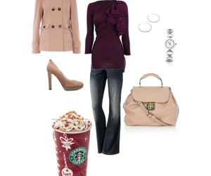 coat, jeans, and coffee image