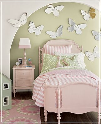 bedroom, bed, and butterfly image