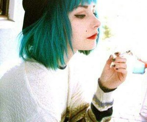 hair, grunge, and green image