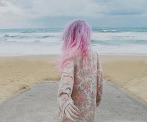hair, pink hair, and beach image