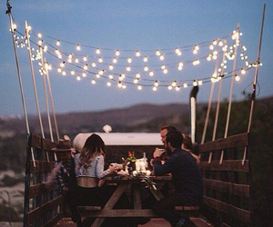 friends, light, and dinner image