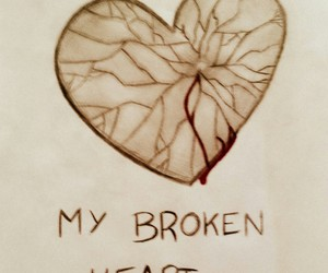 broken, draw, and heart image