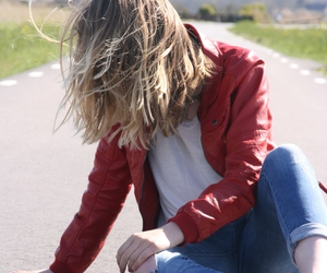 blond, girl, and red jacket image