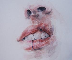 art, drawing, and lips image