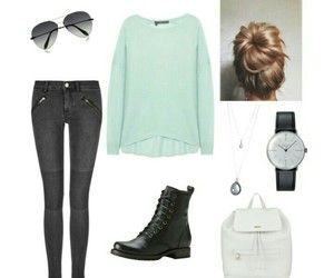 backpack, outfit, and Polyvore image