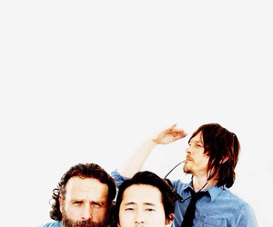 norman reedus, andrew lincoln, and steven yeun image