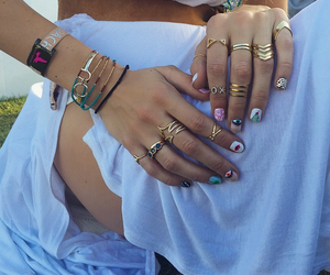 nails, rings, and coachella image