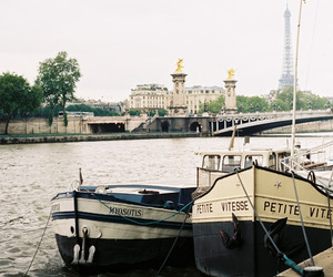 boat, vintage, and paris image